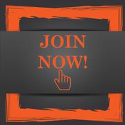Stock Illustration of Join now icon. Internet button on grey background..