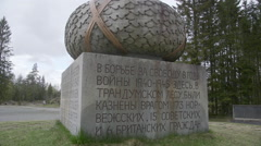 WW2 monument at Trandum Norway russian inscriptions slider movements Stock Footage