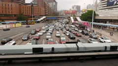 Traffic jam from above, seven lanes road blockage, congestion Stock Footage