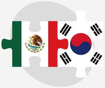 Stock Illustration of Mexico and South Korea Flags in puzzle