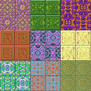 Set of glazed tiles seamless generated textures - stock illustration