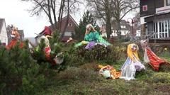4k Walpurgis witches garden decoration in Harz village Stock Footage