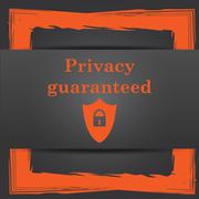 Stock Illustration of Privacy guaranteed icon. Internet button on grey background..