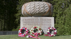 WW2 monument at Trandum Norway wreath of flowers Stock Footage