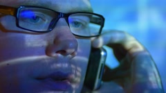 4 in 1 video! The man look through glasses and make a phone call Stock Footage