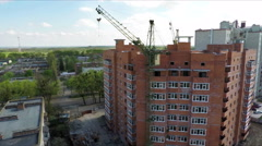 Building social housing neighborhood - aerial survey Stock Footage