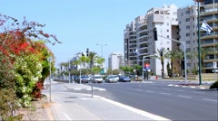 One of the busiest streets in the northern part of the Tel Aviv Stock Footage