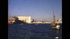 Vintage 16mm film, Hong Kong harbor, wide shot x2, 1973 Stock Footage