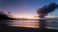Beach Sunset Timelapse, Seychelles Stock Footage