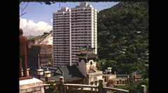 Vintage 16mm film, Hong Kong scenic, hills and buildings, 1973 Stock Footage
