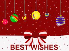 vector christmas holiday festival best wishes balloon concept - stock illustration