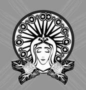 Blessed Virgin Mary portrait Stock Illustration