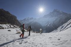 Annapurna Trekking Trail in west Nepal. - stock photo