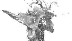 Closeup of liquid silver splashing in slow motion on white, with alpha (FULL HD) Stock Footage