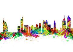 Dubai City Skyline Silhouette Piirros