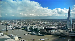Aerial view of The Shard building and the Tower Bridge - stock footage