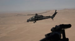 Aerial view of the Afghan desert with the AW -129 Mangusta . - stock footage