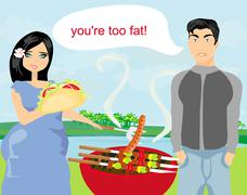 Husband gets upset, wife eats unhealthy food Stock Illustration