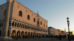 Venice at sunrise - Doge's palace and the winged lion Stock Footage