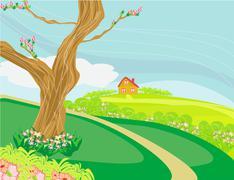 Illustration of a peaceful village in spring Stock Illustration