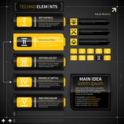 Set of modern techno banners and elements. Useful for web design. EPS10. Stock Illustration