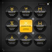 Modern techno badges and labels. EPS10. Stock Illustration