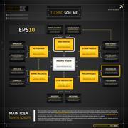 Organization chart template in techno style. EPS10. - stock illustration