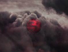 Red planet on black sky. 3d illustration Stock Footage