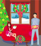 Girl surprising a boy with a gift in Christmas night Stock Illustration