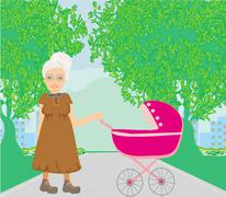 Old lady pushing a stroller in the park Stock Illustration