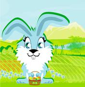 rabbit and a farm in a beautiful nature - stock illustration