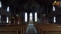 4k Traditional evangelic church inside Harz village Braunlage Stock Footage