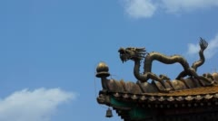 Gold dragon on the eave Stock Footage