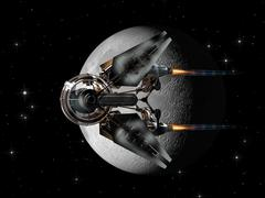 Spaceship drone passing the Moon - stock illustration