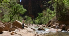 Woman Instagram Selfie in Zion National Park 4K Stock Video Stock Footage