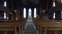 4k Traditional evangelic church inside tilt Harz village Braunlage Stock Footage