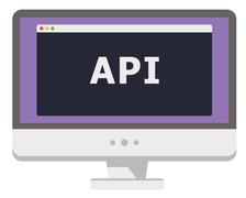 Vector illustration of personal computer display showing window with api heading Stock Illustration