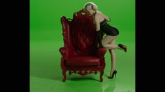 Corset Sexy Girl Red Chair - stock footage