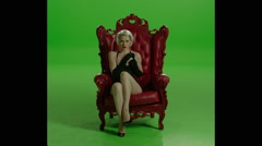Corset Sexy Girl Red Chair Stock Footage