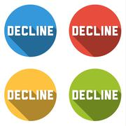 Collection of 4 isolated flat buttons with DECLINE sign - stock illustration