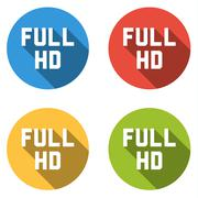 Collection of 4 isolated flat buttons (icons) with FULL HD sign - stock illustration