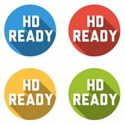 Collection of 4 isolated flat buttons (icons) with HD READY sign - stock illustration