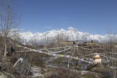 Local houses at Muktinath village in lower Mustang district, Nepal - stock photo