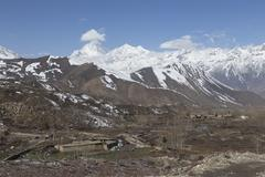 Landscape of Muktinath village in lower Mustang District, Nepal - stock photo