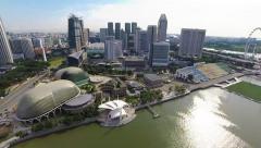 Aerial Drone Shot - Singapore Marina Bay Esplanade Stock Footage