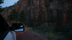 Evening Driving of Zion National Park in Utah Stock Video - stock footage