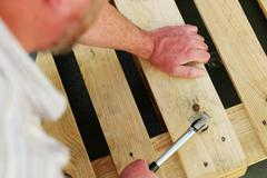Carpenter using a claw hammer Kuvituskuvat