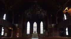 4k Inside traditional evangelic church in Harz village Braunlage Stock Footage