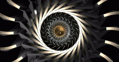 Mechanical Visual Rotating Seamless Loop Gold Arrow Stock Footage