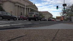 Washington DC US Archive Building road busy traffic 4K - stock footage
